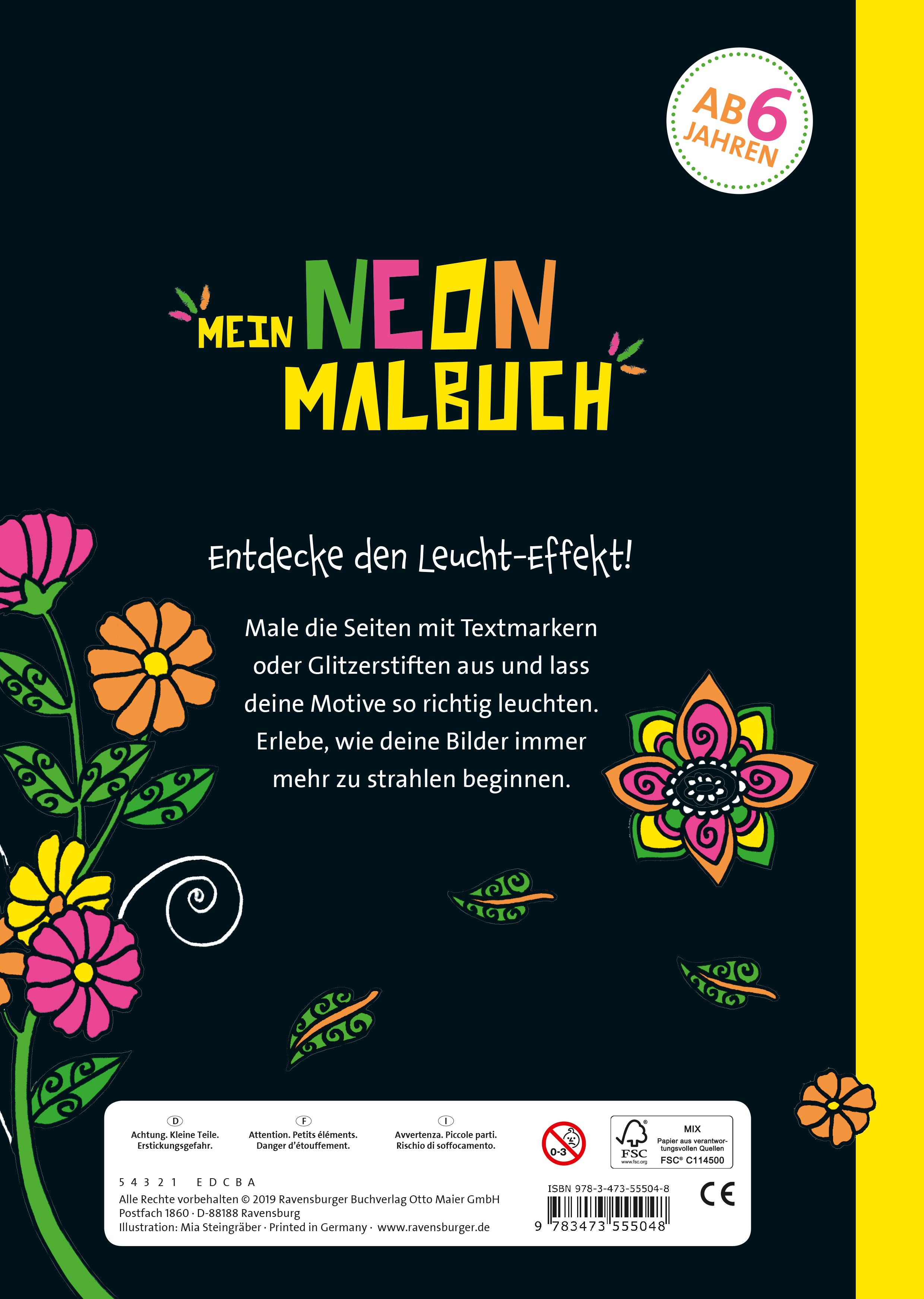 Mein Neon-Malbuch: Fantasietiere