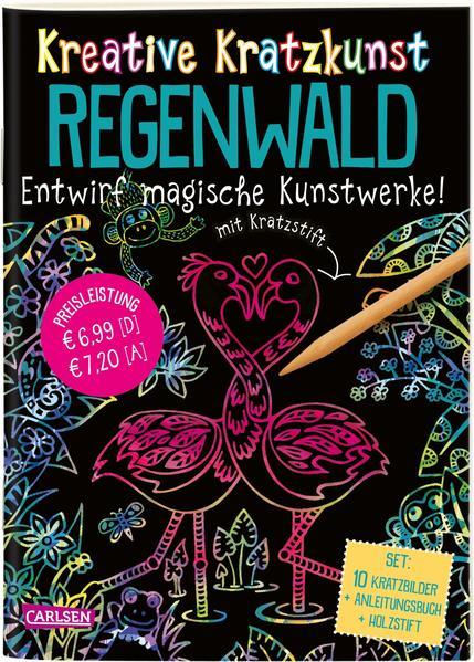 Kreative Kratzkunst: Regenwald: Set mit 10 Kratzbildern, Anleitungsbuch und Holzstift
