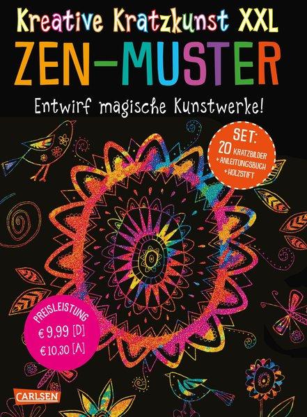 Kreative Kratzkunst XXL: ZEN-Muster: Set mit 20 Kratztafeln, Mappe, Anleitungsbuch und Holzstift