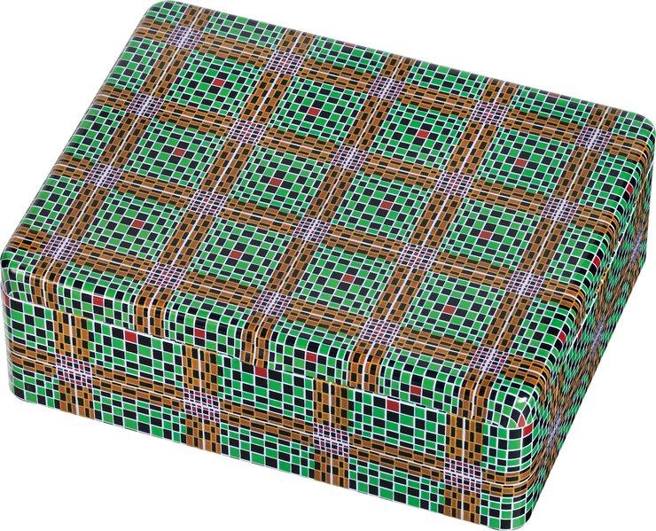 WAX Teebox - Motiv Grün-Braune Karos
