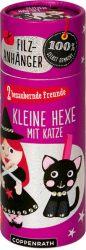 Filzanhänger: Kleine Hexe mit Katze