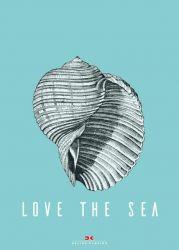 Maritimes Notizbuch - Illustration: Muschel, Spruch: Love the Sea