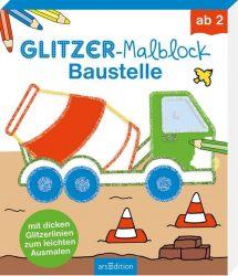 Glitzer-Malblock Baustelle